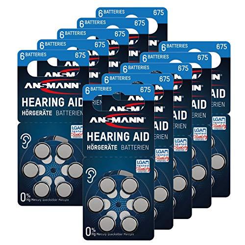 ANSMANN Hörgerätebatterien 675 (Blau 60 Stück) Typ 675 P675 ZL1 PR44 - Zink Luft 1,4V - Batterie für Hörgerät, Hörverstärker, Hörhilfe