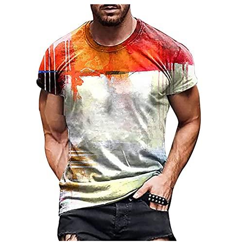 Nuevo 2021 Camiseta Hombre Verano Manga corta Impresión geometría Moda Casual T-shirt Blusas camisas Camiseta originales Cuello redondo hombre suave básica camiseta Tops deportiva Talla grande