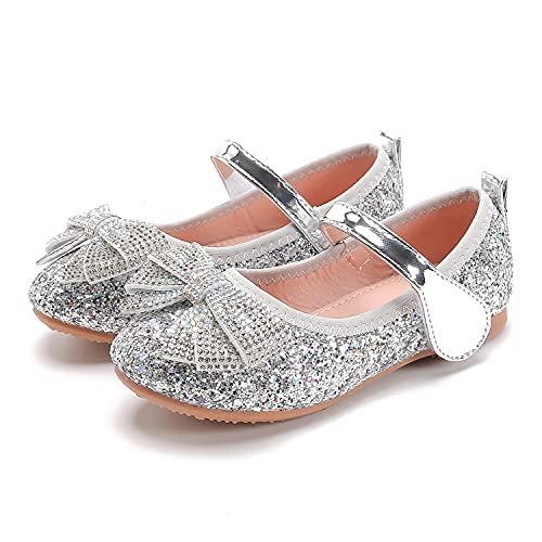 Eleasica Zapatos de Vestir, Lazos de Lentejuelas y Joyas Brillantes, adecuados para Vestidos de Princesa, Bodas, comuniones, Ceremonias, Juegos de rol de Princesas, Disfraz de Carnaval (3-12 años)