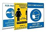 Señalización Coronavirus COVID19 | Pack 3 Carteles Dispensador Gel + Distancia Social + Mascarilla | Señales para Tiendas, Negocios, Locales | 21 x 30 cm | Descuentos por Cantidad