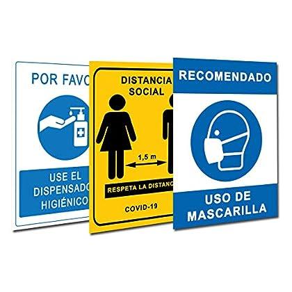 Señalización Coronavirus COVID19 | Pack 3 Carteles Dispensador Gel + Distancia Social + Mascarilla | Señales para…