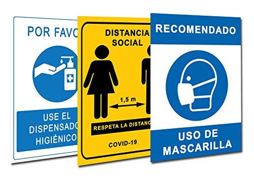 Signalización Coronavirus COVID19 - Confezione da 3 cartelli dispenser in gel + distanza sociale + maschera per negozi, negozi, negozi, locali, autoinstallabile e resistente all'acqua