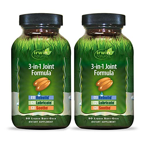 Irwin Naturals 3-in-1 Joint Formula - Powerful Joint Support Supplement with Glucosamine, Chondroitin, Turmeric & Boswellia - 90 Liquid Softgels (Pack of 2)