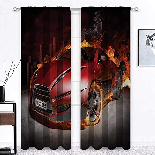 GugeABC Blackout Curtains for Bedroom Cars Energy Efficient Drapes Burnout Tires Sport Car 96 x 72 Inch (2 Panels)
