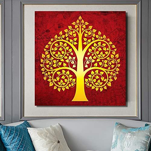 BailongXiao Cartel Budista Moderno y Pintura Decorativa Abstracta de Tilo Dorado Imprimir Lienzo Sala de Estar decoración del hogar,Pintura sin Marco,60x60cm