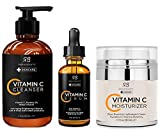 Radha Beauty Vitamin C Complete Facial Care Kit - 3-in-1 Anti-Aging Set with Cleanser, Serum, and Moisturizer for Wrinkles, Dark Spots, and Acne. Day & Night Brightening Skincare Gift Set