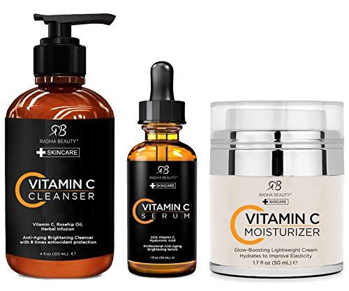 Radha Beauty Vitamin C Complete Facial Care Kit - 3-in-1 Anti-Aging Set with Cleanser, Serum, and...