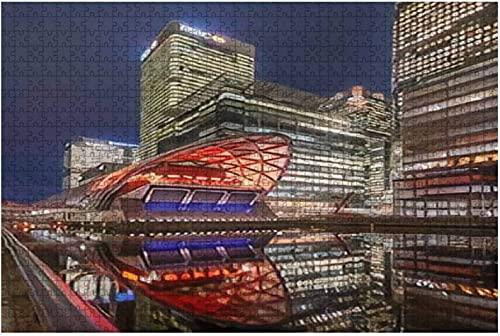 500 piezas-11 06 2019 London Canary Wharf Reino Unido Crossrail Place in Canary Wharf Rompecabezas de madera DIY Niños Rompecabezas educativos Regalo de descompresión para adultos Juegos creativos Ju