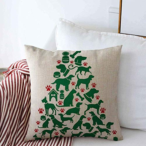 Throw Pillow Cushion Cover Case Hound Red Paw Dogs Cats Christmas Tree Holidays Beagle Bowl Canine Cute Pillow Cover Pillow Case 45 X45 cm