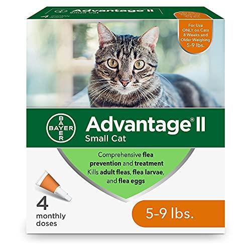 Advantage II Small Cat Flea Treatment, 4-Dose Small Cat Flea Prevention, 5-9 Pounds