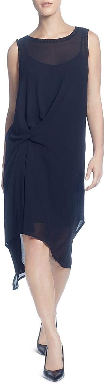 Catherine Malandrino Womens Sleeveless HiLow Midi Dress Black L