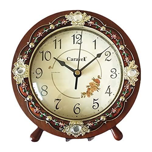 GARNECK - Reloj de mesilla de noche vintage con diseño floral retro de madera para dormitorio, salón, decoración de mesa, oficina, casa