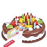 Torta per bambini Giocattoli 37 Pz Finta Play alimento DIY taglio festa di compleanno Torta Giocattoli Set con le candele educativo Cucina giocattolo Brown