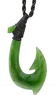 Earthbound Kiwi Hand Carved Genuine Nephrite Jade Extra Large Fish Hook Necklace