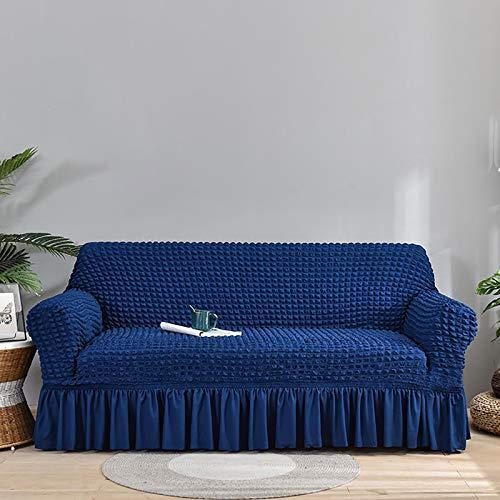 Fundas de sofá de alta elasticidad para 3 cojines de sofá de 1 pieza con funda elástica antideslizante para sofá con protector de muebles para niños y mascotas (sofá, azul negro) A, 4 plazas