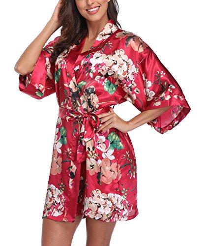 Women's Satin Floral Kimono Robe Short Bridesmaid Bathrobe for Wedding Party,Burgundy S