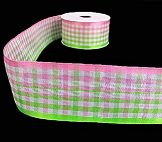 "5 Yds Watermelon Pink Basketweave Plaid Semi Sheer Wired Ribbon 1 1//2/""W"