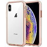JETech Hülle Kompatibel iPhone XS und iPhone X, Schutzhülle mit Anti-kratzt Transparente und Rückseite, Roségold