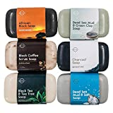 O Naturals 6-Piece Black Bar Soap Collection. 100% Natural. Organic Ingredients. Helps Acne, Helps Skin Moisturizes, Deep Cleanse, Luxurious Face Hands Body Soap Women & Men. Triple Milled Vegan 4oz