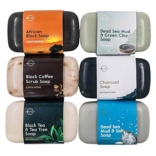 O Naturals 6-Piece Black Bar Soap Collection. 100% Natural. Organic Ingredients. Helps Acne, Repairs Skin Moisturizes, Deep Cleanse, Luxurious Face...