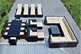 Genuine Ohana Outdoor Sectional Sofa, Dining and Chaise Lounge Wicker Patio Furniture Set (29 PC Set) with Free Patio Cover