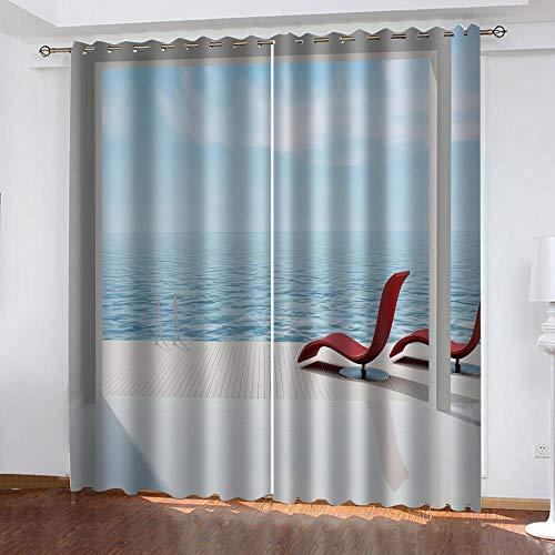 MXYHDZ Cortinas Dormitorio Opacas - Piscina Azul Impresión 3D, Decoracion de Ventanas Salon Termicas Aisantes Frio y Calor - 200 x 160 cm para Oficina, Dormitorio habitación de los niños.