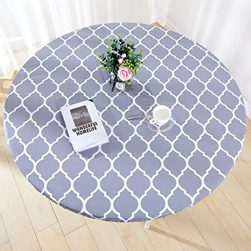 Zhuqing Heavy Duty Vinyl Round Fitted Tablecloth, Gray Moroccan Design, Spillproof Waterproof Elastic Table Cover with Flannel Backed Lining, Fits 40' to 44' Round Table,for Indoor/Outdoor Use