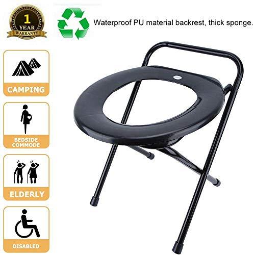 Yencoly Toiletten-Töpfchen-Stuhl, Eisen-Rohr-beweglicher faltender Toiletten-Kommode-Nachttisch des Erwachsenen Badezimmer-Toiletten-Stuhl-faltender Kommode-faltender Nachttisch