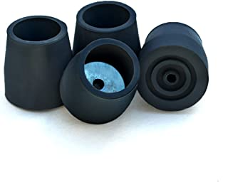 Top Glides Steel-Reinforced Walker, Commode, and Bath Bench Replacement Rubber Tips, Black, 1