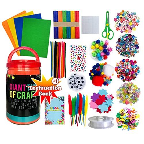 Kstyhome Kit de suministros para manualidades y manualidades hechos a mano,más de 500 piezas,juego de materiales para actividades con letras de EVA,pegatinas de flores,palitos de helado,lentejuelas,