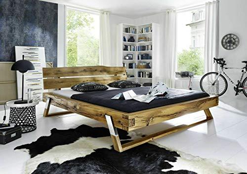 MJC Bett Timber, Wildeiche massiv, 160x200 cm, Bettgestell, Holzbett, Schlafzimmer