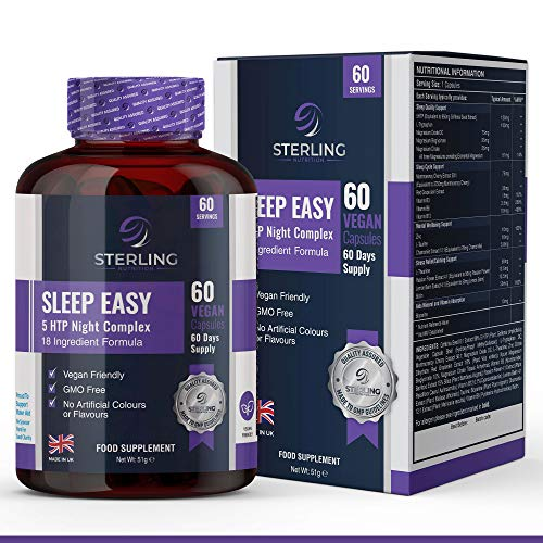 Sleep Easy 5 HTP Night Complex Sleeping Aid – 60 Extra Maximum Strength Vegan Capsule Supplement – Contains 18 Potent Ingredients – by Sterling Nutrition