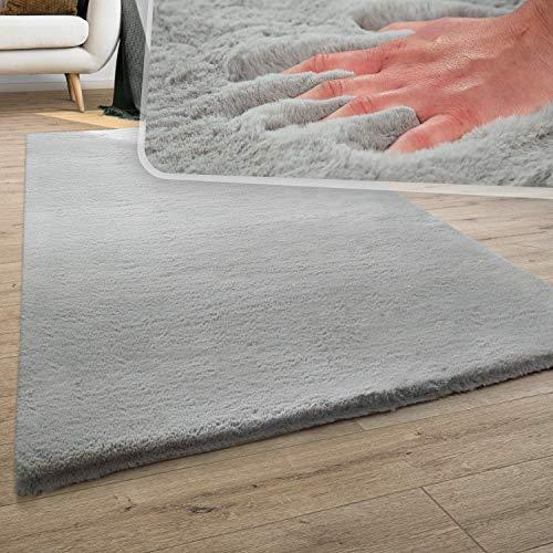 Teppich Wohnzimmer Kunstfell Plüsch Hochflor Shaggy Super Soft Waschbar In Grau, Grösse:120x170 cm
