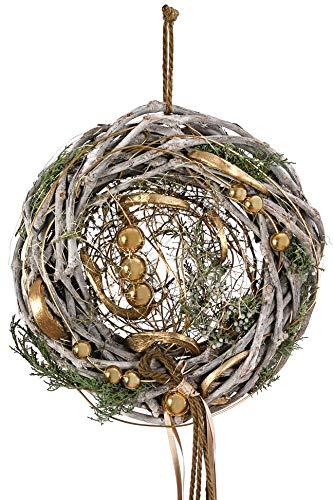 Dehner Weihnachtlicher Türkranz Glamour, handgefertigt, Ø ca. 30 cm, Naturmaterialien, hellgrau/gold/grün
