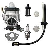 SQX Carburetor with Spark Plug Fuel Line Kit for Husqvarna 145BT Kawasaki TE45DX Walbro WYK-74 WYK-74-1