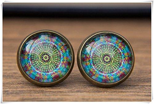 Pendientes Elf House Mandala, pendientes azules, pendientes verdes, azul y verde, pendientes cúpula de cristal, pendientes
