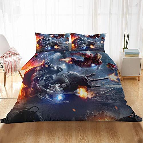 DFTY Disney Marvel Avengers Iron Man Bedding Set Duvet Cover and Pillowcase 100% Microfibre 3D Digital Print 2/3 Piece Bedding Set, 5, 200*200CM
