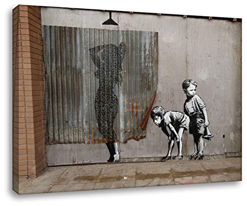 Banksy - Mädchen Dusche 20x30cm - Bilder Leinwanddrucke/Wandbilder Street Art Graffiti Kunstdruck 2cm (div. Varianten/Größen) - Leinwandbild Wandbild/fertig aufgespannt/fertig zum aufhängen