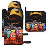 YUELIZHOU Game P-Ac-Man Oven Mitts and Pot Holders Sets Hanging Non-Slip Heat Resistant 3 Piece Set for Kitchen BBQ Cooking Baking Grilling Machine Washable