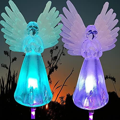 Iluminación solar para camino, ZQX 2 Crystal Angel resistente al agua, iluminación decorativa que cambia de color al aire libre, lámparas luminosas alas para jardín, patio, fiesta, multicolor