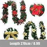 Morbuy Weihnachtsgirlande mit Beleuchtung, Tannengirlande Remote 8 Modus Lichterkette Weihnachten Dekoration 2.7 Meter für Innen und Außen Verwendbar (Rot) - 6
