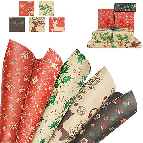 10 hojas Papel para Envolver Regalos Navidad,Papel Kraft para Envolver Navidad Envolver Reciclable para Regalo de Fiesta Navideña