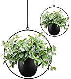 Abetree 2 Pcs Boho Metal Hanging Planters for Indoor Plants with Hooks Modern Wall and Ceiling Planter Mid Century Minimalist Flower Pot Hold Planter for Outdoor Plants Home Decor,Black