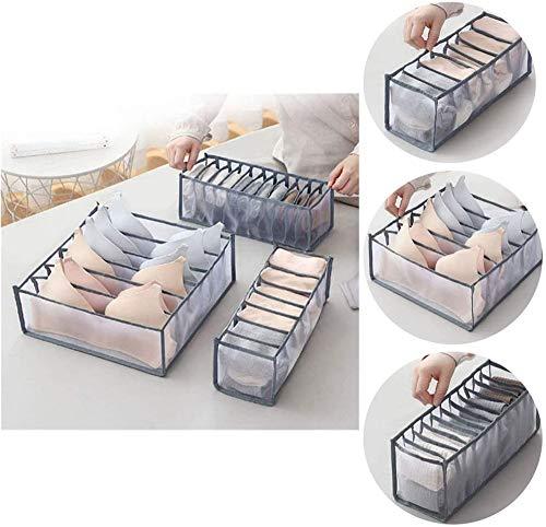 ZJXAM Multi-Grid-unterwäsche-aufbewahrungsbox-Netz, Unterwäsche-Organizer-schubladenunterteiler-Set, Faltbare Schubladen-Organizer-aufbewahrung, Zusammenklappbare Schrankunterteiler (Grau)
