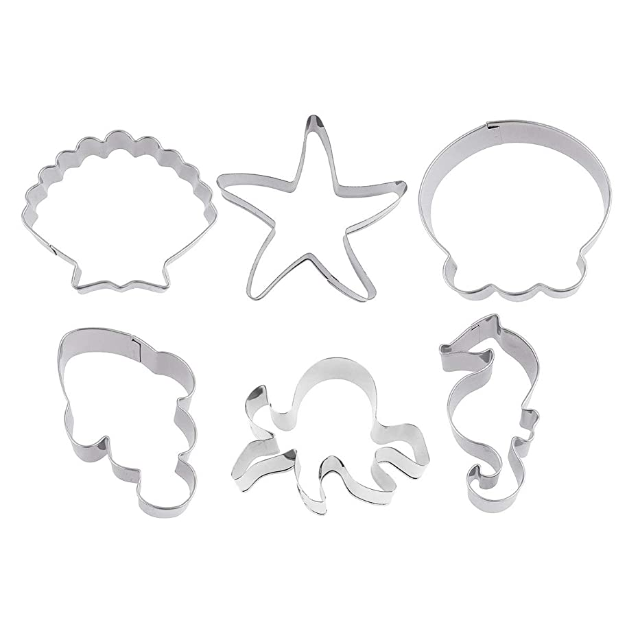 CHICTRY Stainless Steel Cookie Cutter Molds Dinosaur/Under The Sea Creature Biscuit Fondant Baking Mold Set for Kids Birthday Baby Shower Party Supplies Sea Creature One Size