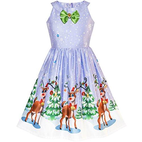 Sunny Fashion Vestido para niña Navidad Víspera Árbol de Navidad Nieve Reno Fiesta 7-14 años