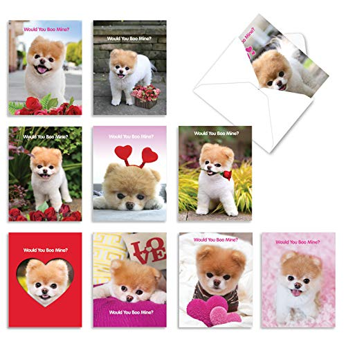 The Best Card Company - 10 Assorted Valentine's Day Note Cards (4 x 5.12 Inch) - Boxed Valentine Cards, Bulk Set with Envelopes - Boo My Valentine AM6754VDG-B1x10