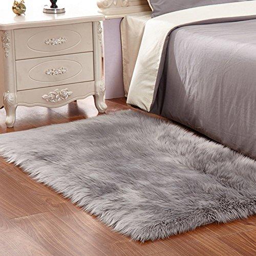 Kunstfell-Teppich Weich Flauschig Shaggy-Teppich für Schlafzimmer Wohnzimmer Kinder-Zimmer 60x 90cm grau