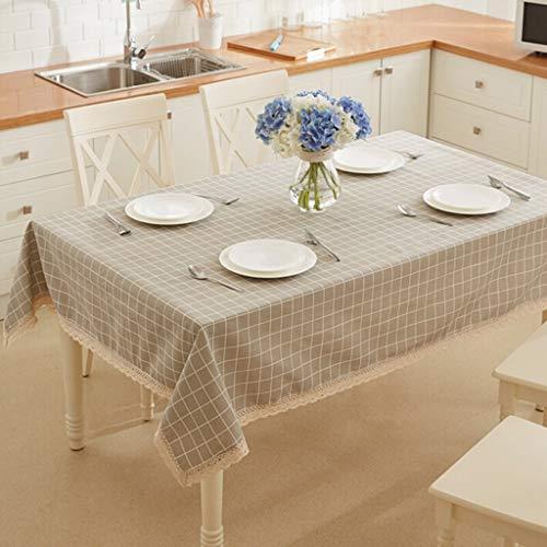 Tafelafdekking Polyester for Banketlijst 1 Stuk Plaid tafelkleed kreukherstellende Waterdicht Tartan geblokt (Color : Gray white, Size : 100 * 150cm)