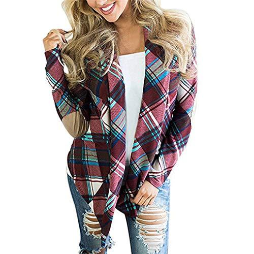 LANSKIRT Damen Jacke Frauen Plaid Print Langarm Outwear Ellenbogen Patch Drapierte Open Front Cardigan Sweater